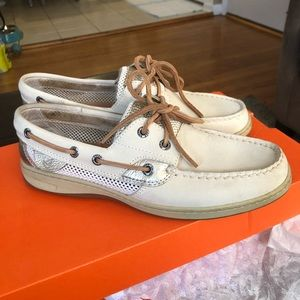 Sperry Top sider cream and gold slip on shoes
